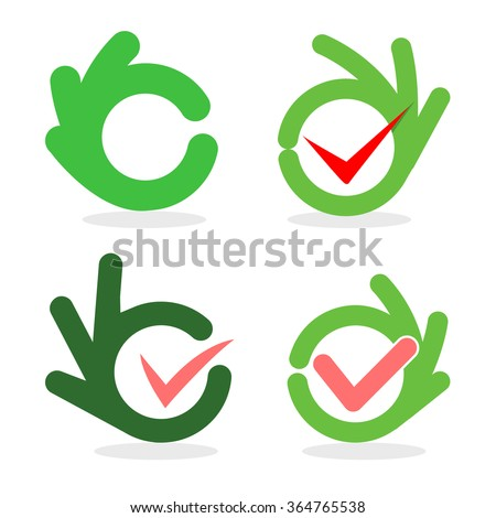 Set of abstract vector okay signs. Green and pink collection of gesture symbols. Logo set. Check icons. Tick images. - stock vector