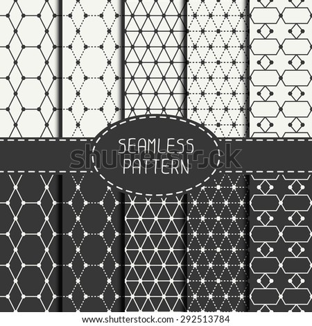 Set of abstract vector retro line stripes geometric seamless pattern. Wrapping paper. Paper for scrapbook. Vintage hipster striped. Hand drawn doodles. Stylish graphic texture for your design. - stock vector