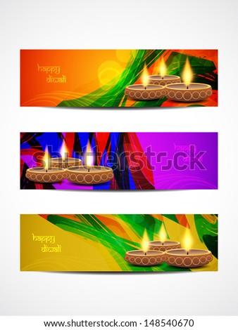 set of abstract vector web header/banner designs for diwali.