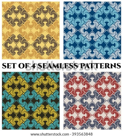 Set of 4 abstract vintage damask seamless patterns with decorative ornament of brown, beige, blue, white, golden, black, red and grey shades - stock vector