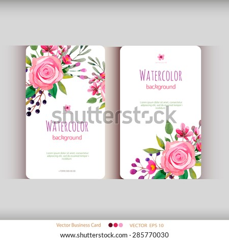Set of abstract watercolor cards. Watercolor flowers.Vector illustration - stock vector