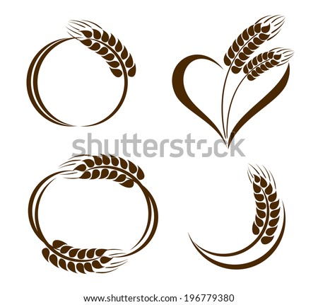 Set of abstract wheat ears icons - stock vector