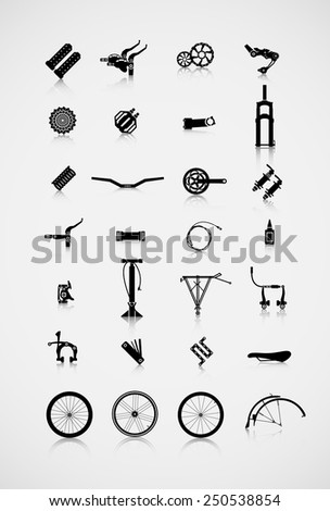 Set of accessories for the bike. A variety of cycling accessories. - stock vector