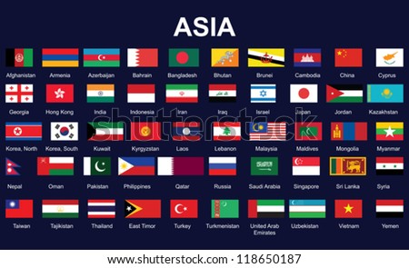 Countries In Asia Flags