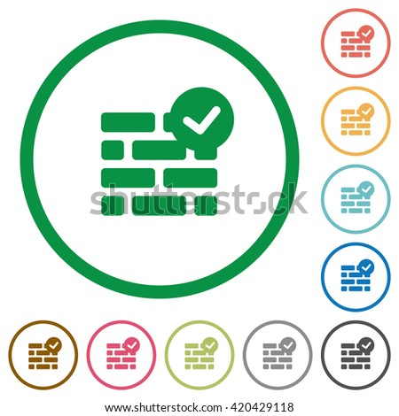 Set of active firewall color round outlined flat icons on white background - stock vector