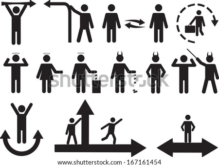 Set of active good and bad human pictograms illustrated on white background - stock vector