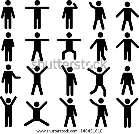 Set of active human pictograms illustrated on white background - stock vector