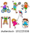 set of active kids - stock photo