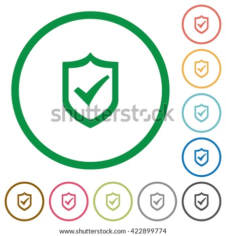 Set of Active shield color round outlined flat icons on white background - stock vector