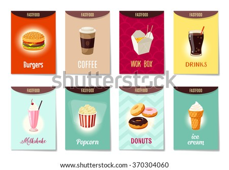 Set of AD-cards (banners, tags, package) with cartoon fast food - hamburger, coffee, wok box, soda, milk shake, popcorn, donuts and ice cream. Vector illustration, isolated on white, eps 10. - stock vector