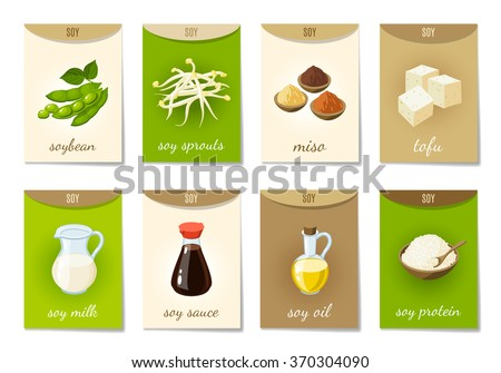 Set of AD-cards (banners, tags, package) with cartoon soy food - soy milk, soy sauce, soy sprouts, tofu, miso, soy oil, soy protein and soy beans. Vector illustration, isolated on white, eps 10. - stock vector