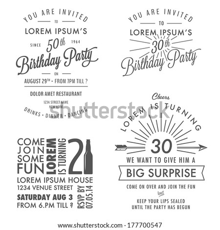 Surprise party invitation stock images royalty free images set of adult birthday invitation vintage typographic design elements stopboris Gallery