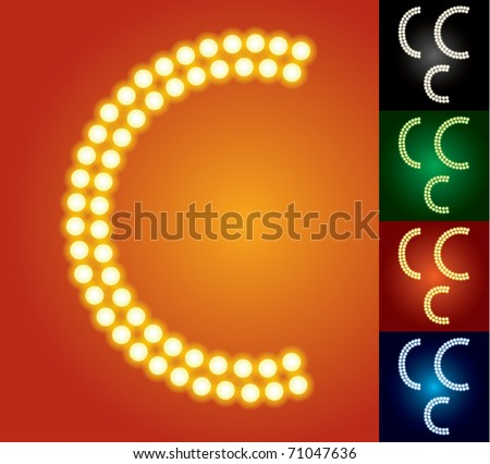 Set of advanced led alphabet with transparency. Character c - stock vector