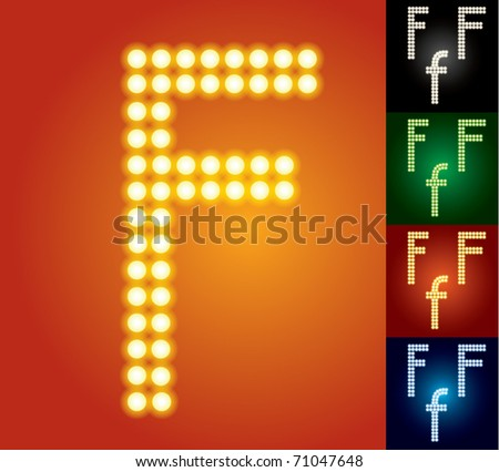 Set of advanced led alphabet with transparency. Character f - stock vector