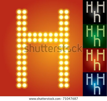 Set of advanced led alphabet with transparency. Character h - stock vector