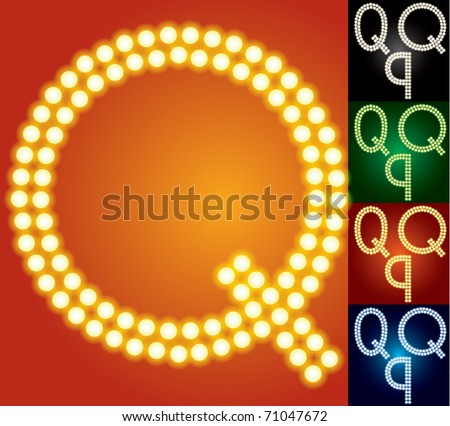 Set of advanced led alphabet with transparency. Character q - stock vector