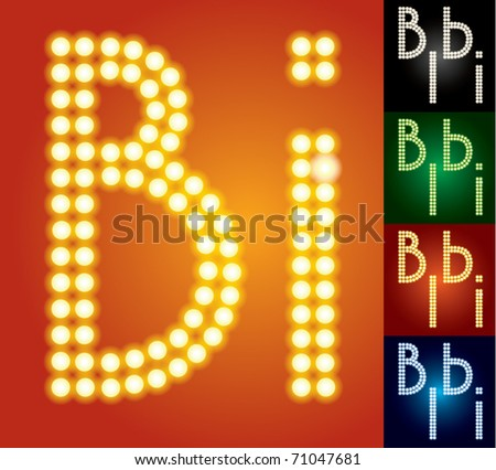 Set of advanced led alphabet with transparency. Characters b i - stock vector