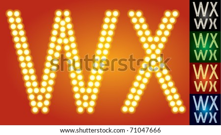 Set of advanced led alphabet with transparency. Characters w x - stock vector
