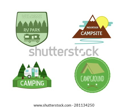 Set of Adventure Outdoor  Activity Tourism Travel Logo Vintage Labels design template. RV, forest holiday park, caravan. Camping Badges Retro style logotype concept icons set. Vector illustration - stock vector