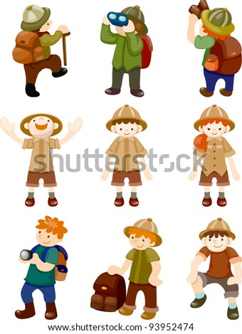 set of Adventurer people - stock vector