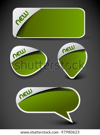 Set of advertisement labels stickers.