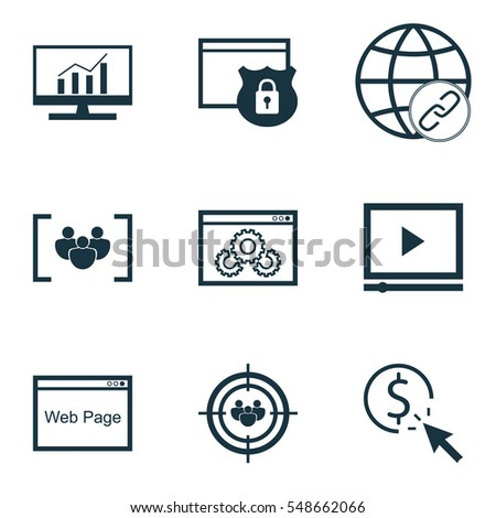 Set 9 Advertising Icons Includes Video Stock Vector 548662066