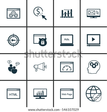 Set 16 Advertising Icons Includes Web Stock Vector 546107029