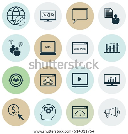 Set Of Advertising Icons On PPC, Connectivity And Video Player Topics. Editable Vector Illustration. Includes Web, Comprehensive, Analytics And More Vector Icons.