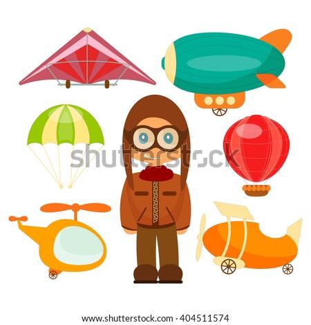 Set of Aero Vehicles. Airman in Uniform. Cartoon Style. Isolated on White Background. Vector Illustration. - stock vector