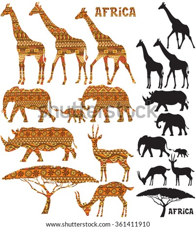 Set of African animal silhouettes in 2 versions: black and pattern filled. - stock vector