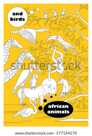 Set of african animals and birds. Made in vector in flat, lineal style. Easy recolor. Each character is separately grouped. - stock vector