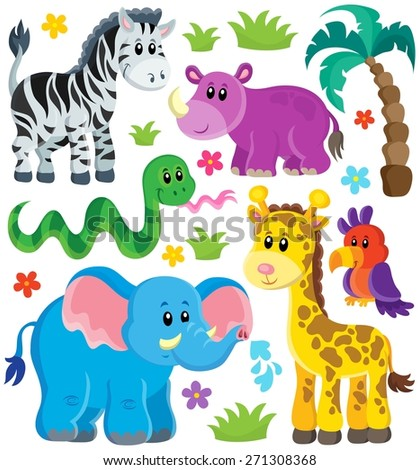 Set of African animals 3 - eps10 vector illustration. - stock vector