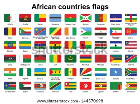 set of African countries flag buttons with rounded corners - stock vector