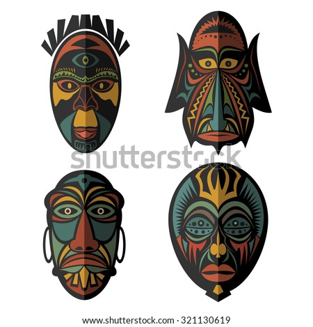 African Tribal Masks Vector