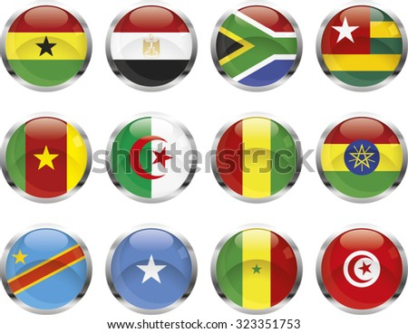 Set of African glossy vector button flags.