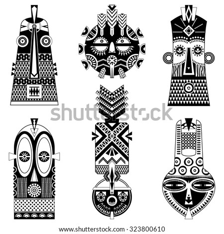 Set of african masks of different shapes. Vector illustration - stock vector