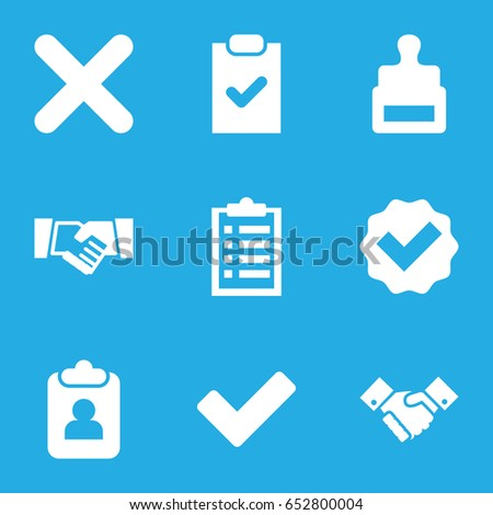 Set of 9 agreement filled icons such as stamp, tick, handshake, cross, checklist