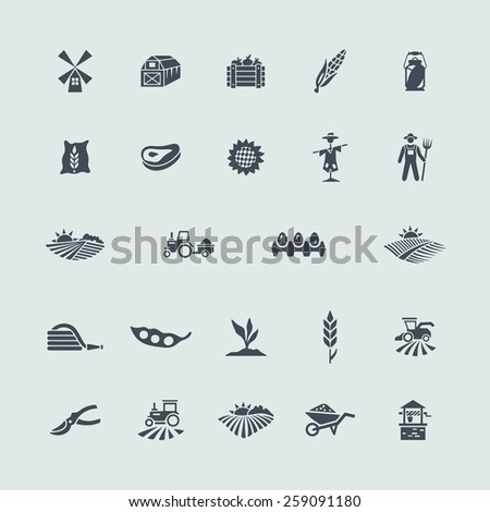 Set of agriculture icons - stock vector