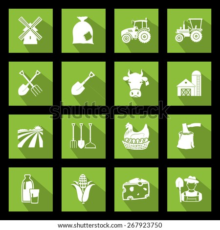 Set of agriculture icons on green. Vector illustrations - stock vector