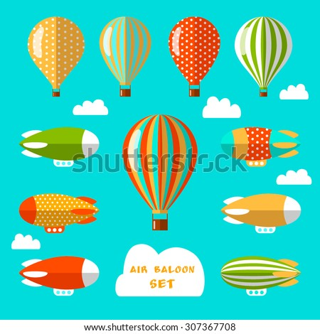 Set of air balloons and airships. Flat vector illustration. Colorful elements for web design and design of flyers, cards or children goods.  - stock vector