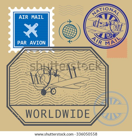 Set of air mail symbols, vector illustration - stock vector