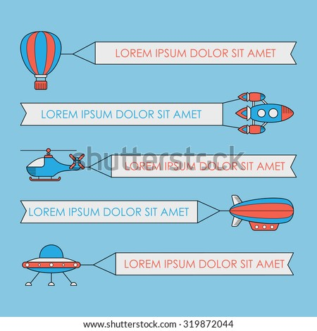 Set of air vehicles with banners. UFO rocket helicopter aerostat balloon airship with a banner - stock vector