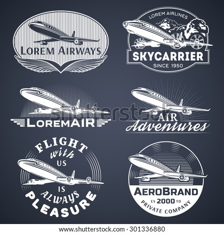 Set of aircraft and air transportation vector labels.Logo templates,badges,emblems,signs black graphic collection.Air voyage,tour,flight promotion and advertising symbols isolated on black background - stock vector