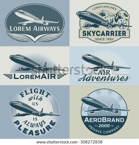 Set of aircraft and air transportation vector labels.Logo templates,badges,emblems,signs color graphic collection.Air voyage,tour,flight promotion and advertising symbols isolated on grey background - stock vector