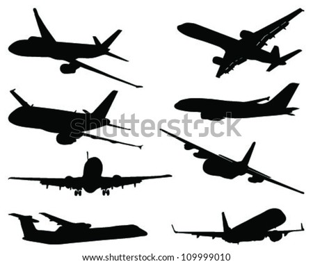 Set of aircraft silhouettes-vector