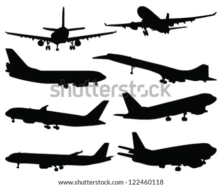 Set of aircraft silhouettes 3-vector