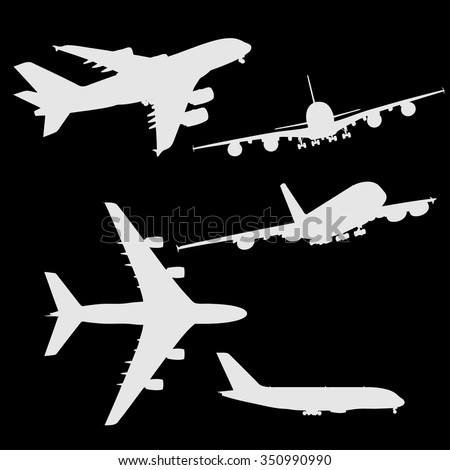 Set of airplanes vector silhouettes - stock vector