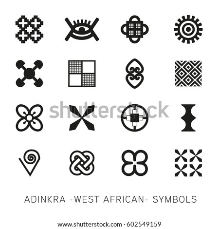 Set Akan Adinkra West African Symbols Stock Vector Royalty Free
