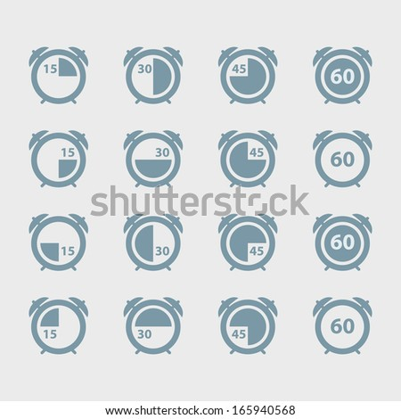 Set of alarm clocks. - stock vector
