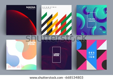 Set of album covers with different designs. Eps10 vector illustration.